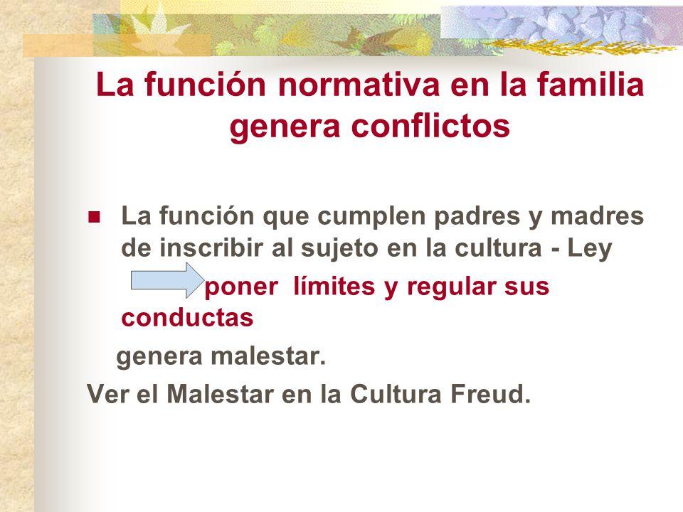 La función normativa en la familia genera conflictos La función que cumplen padres y madres de inscribir al sujeto en la cultura - Ley poner límites y