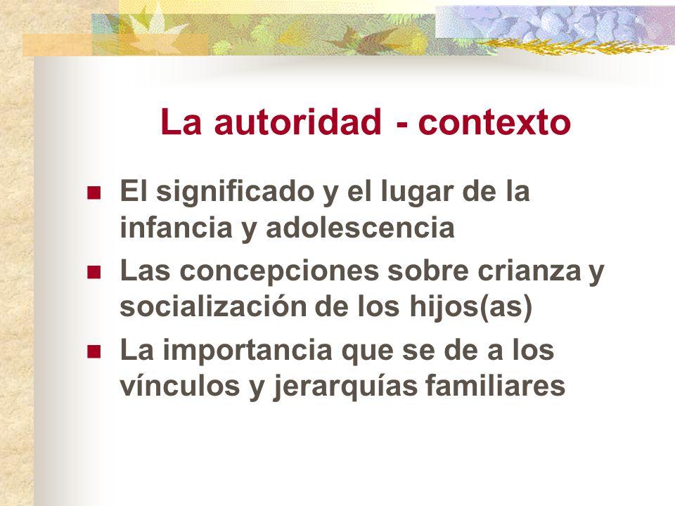 La autoridad - contexto El significado y el lugar de la infancia y adolescencia Las concepciones sobre crianza y socialización de los hijos(as) La imp