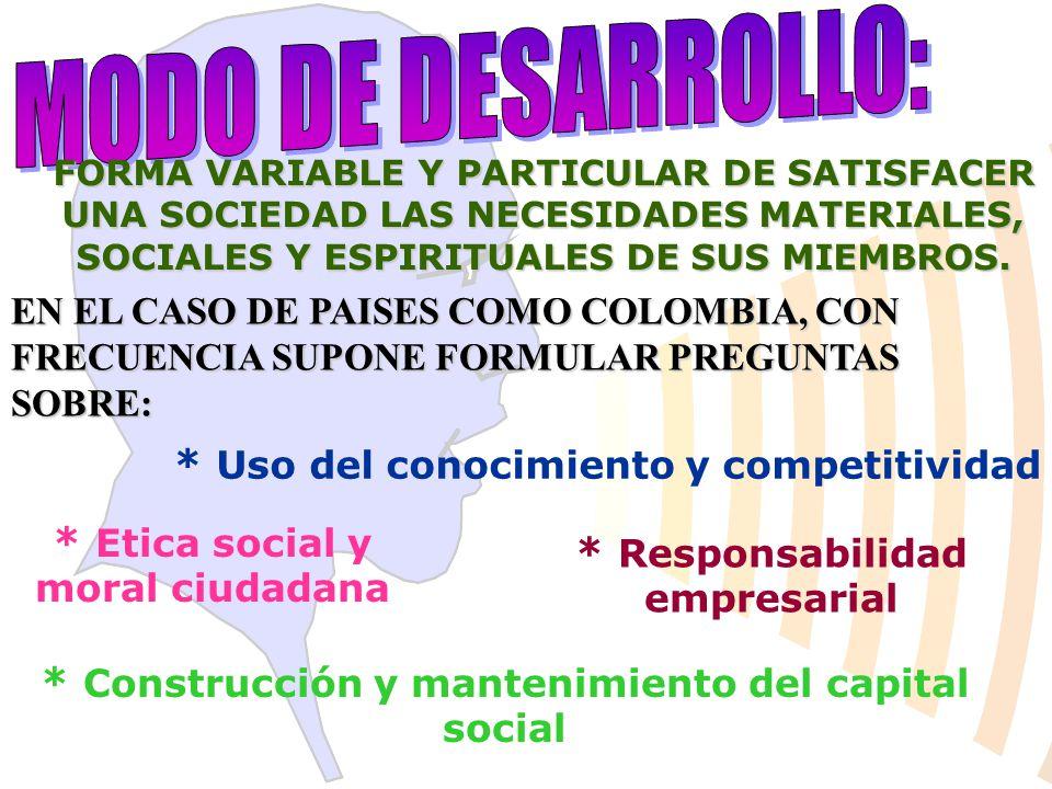 FORMA VARIABLE Y PARTICULAR DE SATISFACER UNA SOCIEDAD LAS NECESIDADES MATERIALES, SOCIALES Y ESPIRITUALES DE SUS MIEMBROS.