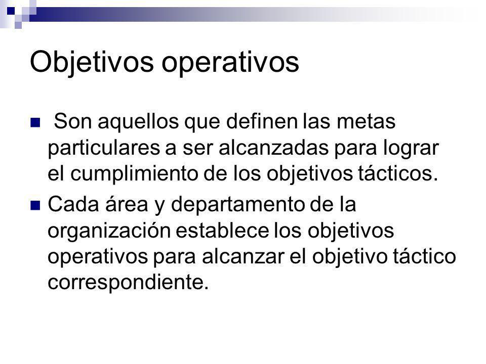 Objetivos operativos Son aquellos que definen las metas particulares a ser alcanzadas para lograr el cumplimiento de los objetivos tácticos.