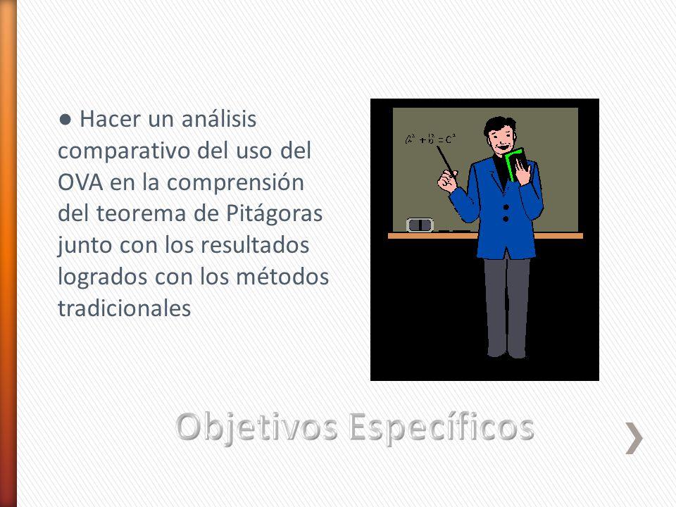 Hacer un análisis comparativo del uso del OVA en la comprensión del teorema de Pitágoras junto con los resultados logrados con los métodos tradicional