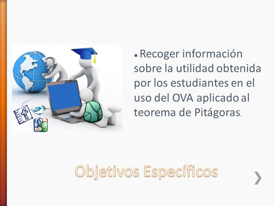 Recoger información sobre la utilidad obtenida por los estudiantes en el uso del OVA aplicado al teorema de Pitágoras.