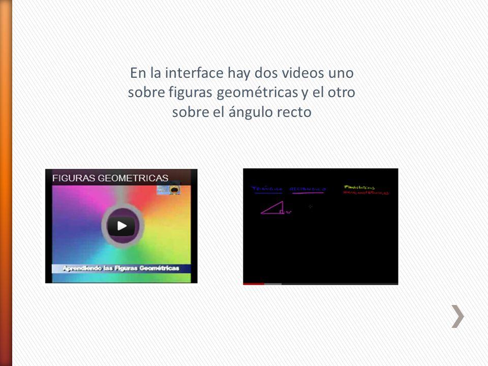 En la interface hay dos videos uno sobre figuras geométricas y el otro sobre el ángulo recto