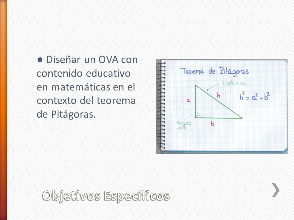 Diseñar un OVA con contenido educativo en matemáticas en el contexto del teorema de Pitágoras.
