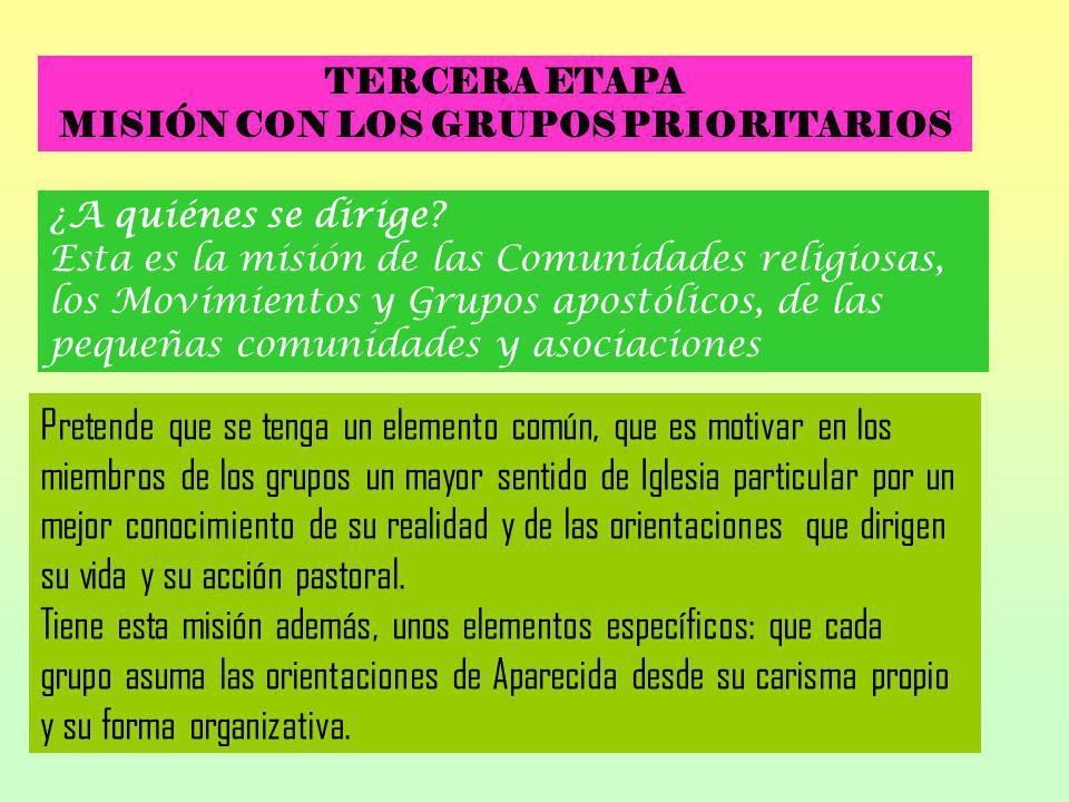 TERCERA ETAPA MISIÓN CON LOS GRUPOS PRIORITARIOS ¿A quiénes se dirige? Esta es la misión de las Comunidades religiosas, los Movimientos y Grupos apost