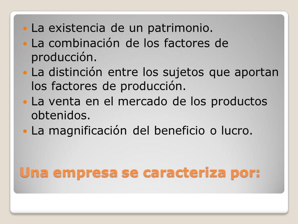 Una empresa se caracteriza por: La existencia de un patrimonio. La combinación de los factores de producción. La distinción entre los sujetos que apor