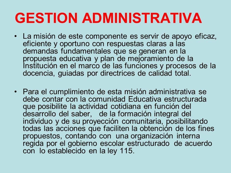 GESTION ADMINISTRATIVA La misión de este componente es servir de apoyo eficaz, eficiente y oportuno con respuestas claras a las demandas fundamentales