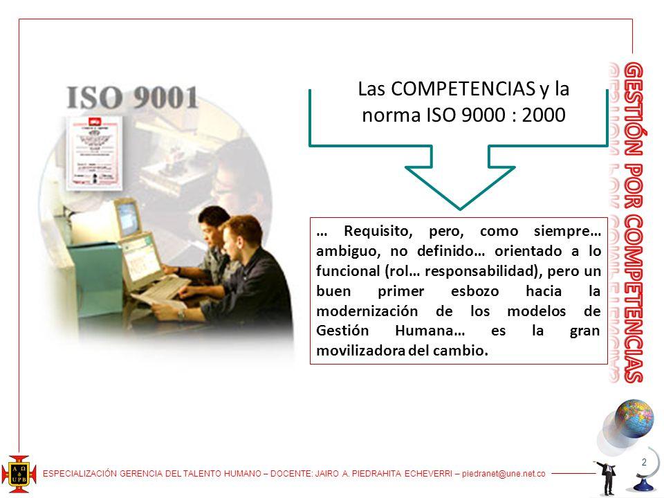 Las COMPETENCIAS y la norma ISO 9000 : 2000 … Requisito, pero, como siempre… ambiguo, no definido… orientado a lo funcional (rol… responsabilidad), pe