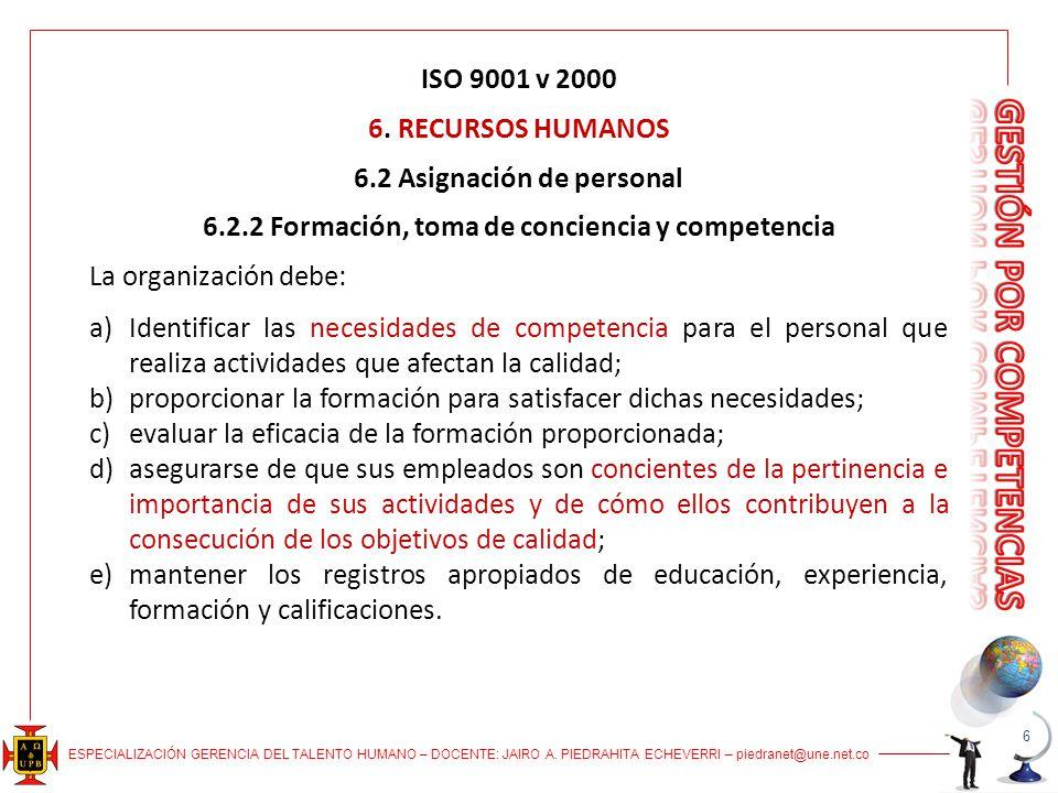 ESPECIALIZACIÓN GERENCIA DEL TALENTO HUMANO – DOCENTE: JAIRO A. PIEDRAHITA ECHEVERRI – piedranet@une.net.co ISO 9001 v 2000 6. RECURSOS HUMANOS 6.2 As