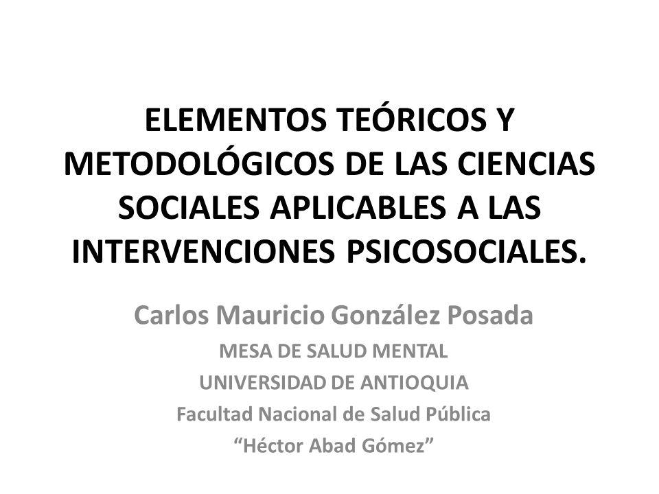 ELEMENTOS TEÓRICOS Y METODOLÓGICOS DE LAS CIENCIAS SOCIALES APLICABLES A LAS INTERVENCIONES PSICOSOCIALES. Carlos Mauricio González Posada MESA DE SAL