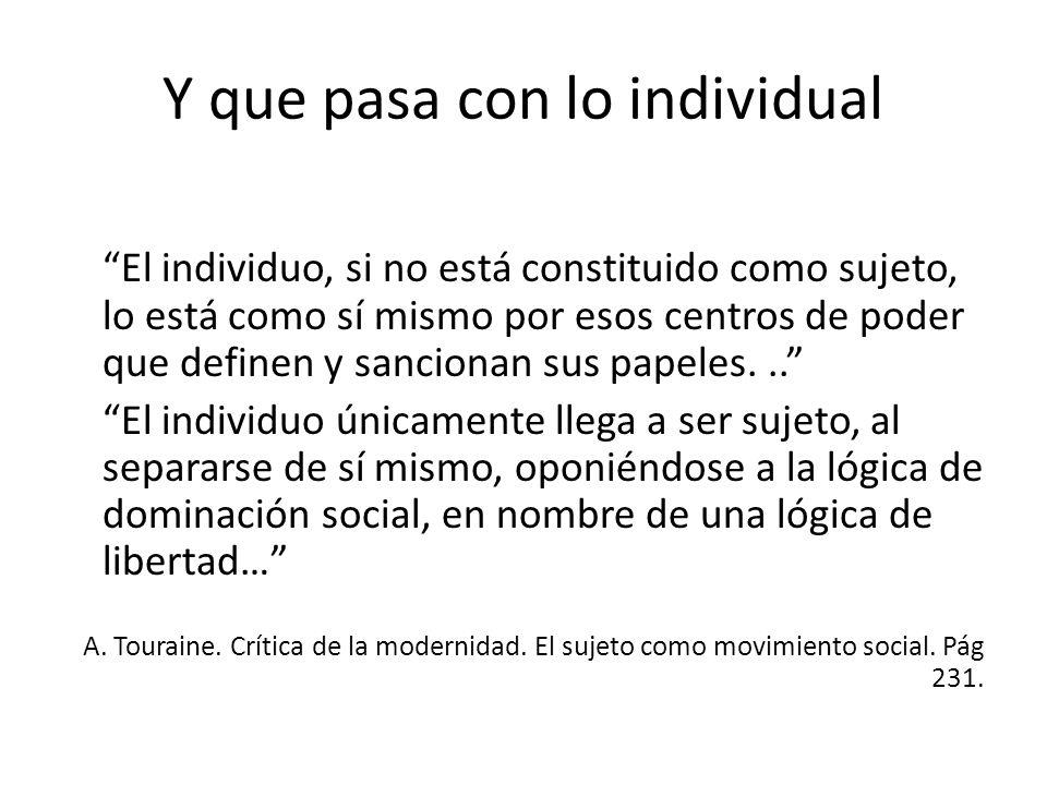 Y que pasa con lo individual El individuo, si no está constituido como sujeto, lo está como sí mismo por esos centros de poder que definen y sancionan sus papeles...
