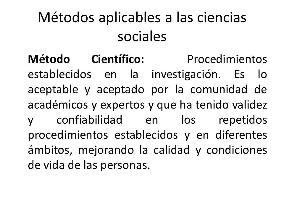Métodos aplicables a las ciencias sociales Método Científico: Procedimientos establecidos en la investigación. Es lo aceptable y aceptado por la comun