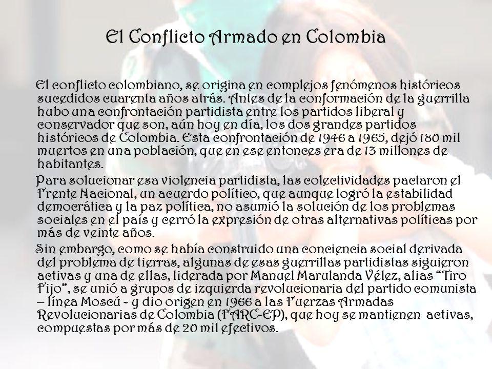 Las FARC surgen como una guerrilla campesina con ideología marxista ubicadas en zonas de colonización, caracterizadas estas por bonanzas económicas (café, oro, esmeraldas) y por un abandono real del Estado.