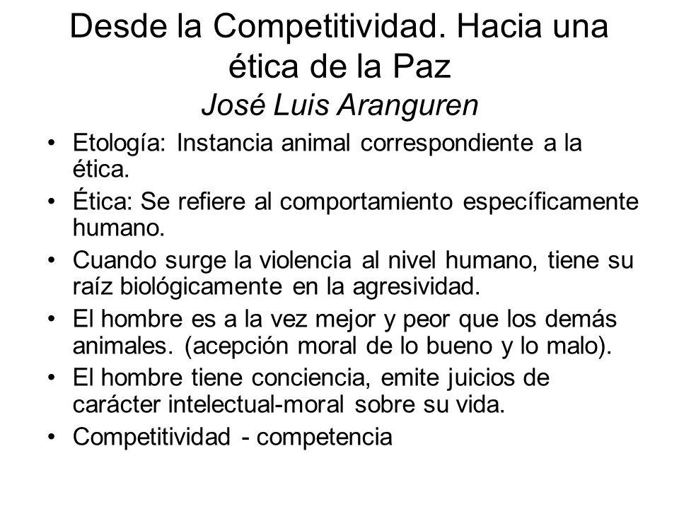 Desde la Competitividad. Hacia una ética de la Paz José Luis Aranguren Etología: Instancia animal correspondiente a la ética. Ética: Se refiere al com