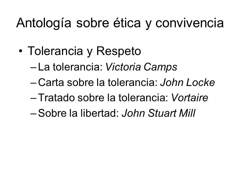 Antología sobre ética y convivencia Tolerancia y Respeto –La tolerancia: Victoria Camps –Carta sobre la tolerancia: John Locke –Tratado sobre la toler