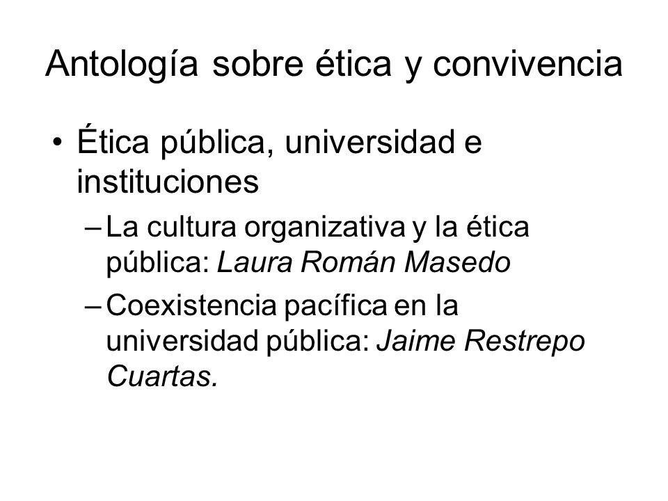Antología sobre ética y convivencia Ética pública, universidad e instituciones –La cultura organizativa y la ética pública: Laura Román Masedo –Coexis