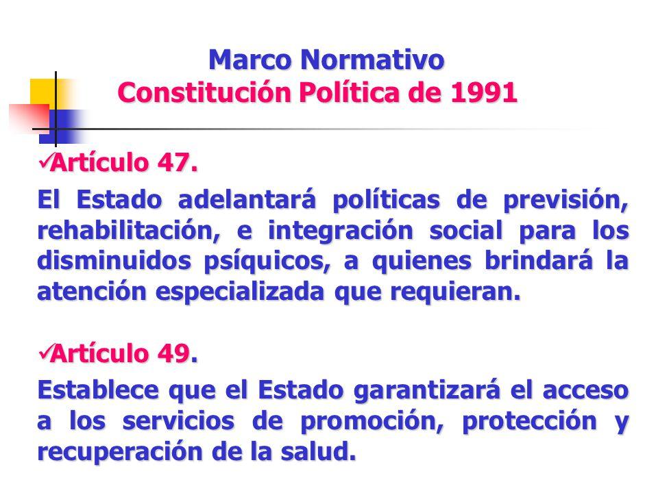Marco Normativo Constitución Política de 1991 Artículo 47. Artículo 47. El Estado adelantará políticas de previsión, rehabilitación, e integración soc