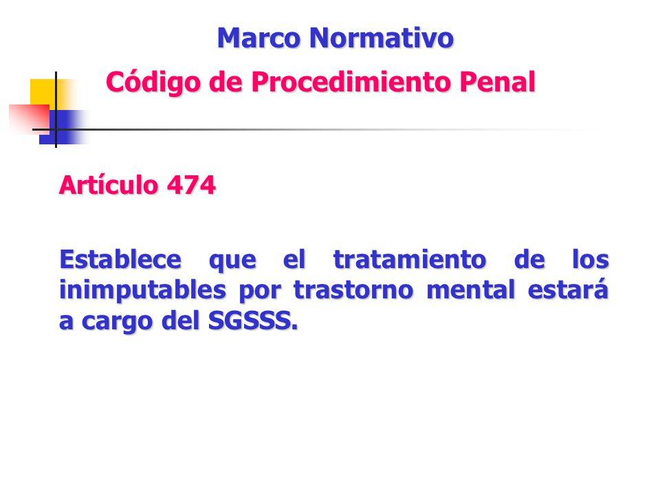 Artículo 474 Establece que el tratamiento de los inimputables por trastorno mental estará a cargo del SGSSS. Marco Normativo Código de Procedimiento P