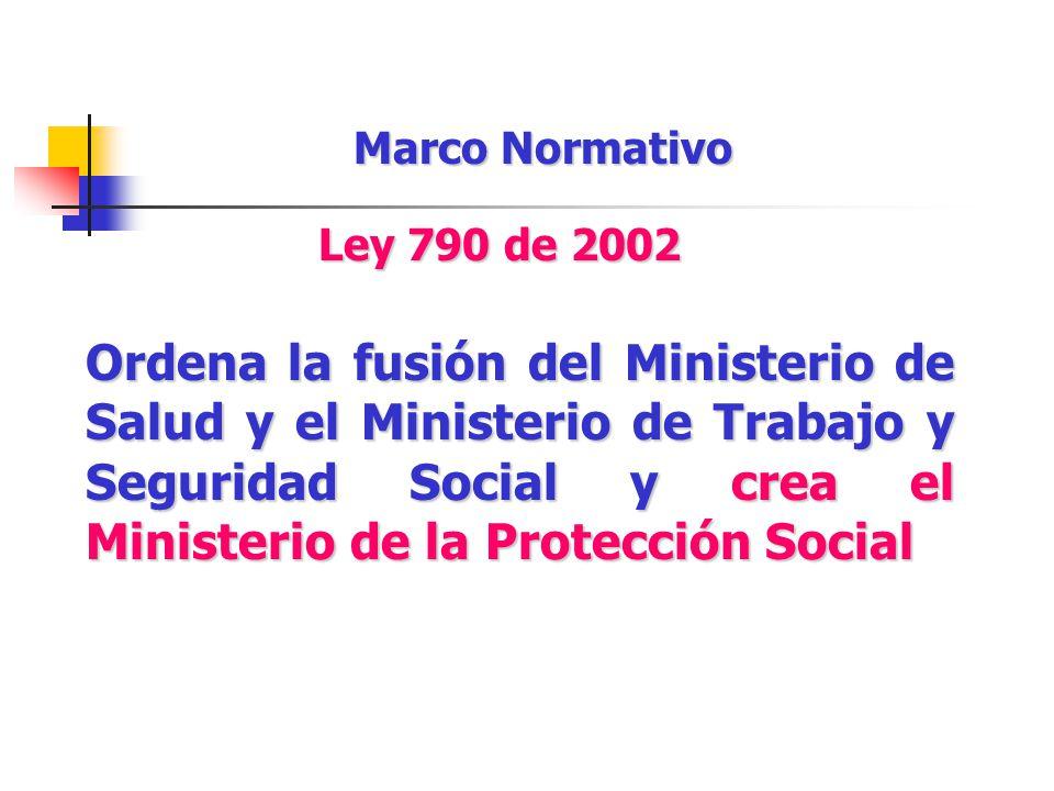 Ordena la fusión del Ministerio de Salud y el Ministerio de Trabajo y Seguridad Social y crea el Ministerio de la Protección Social Marco Normativo Le