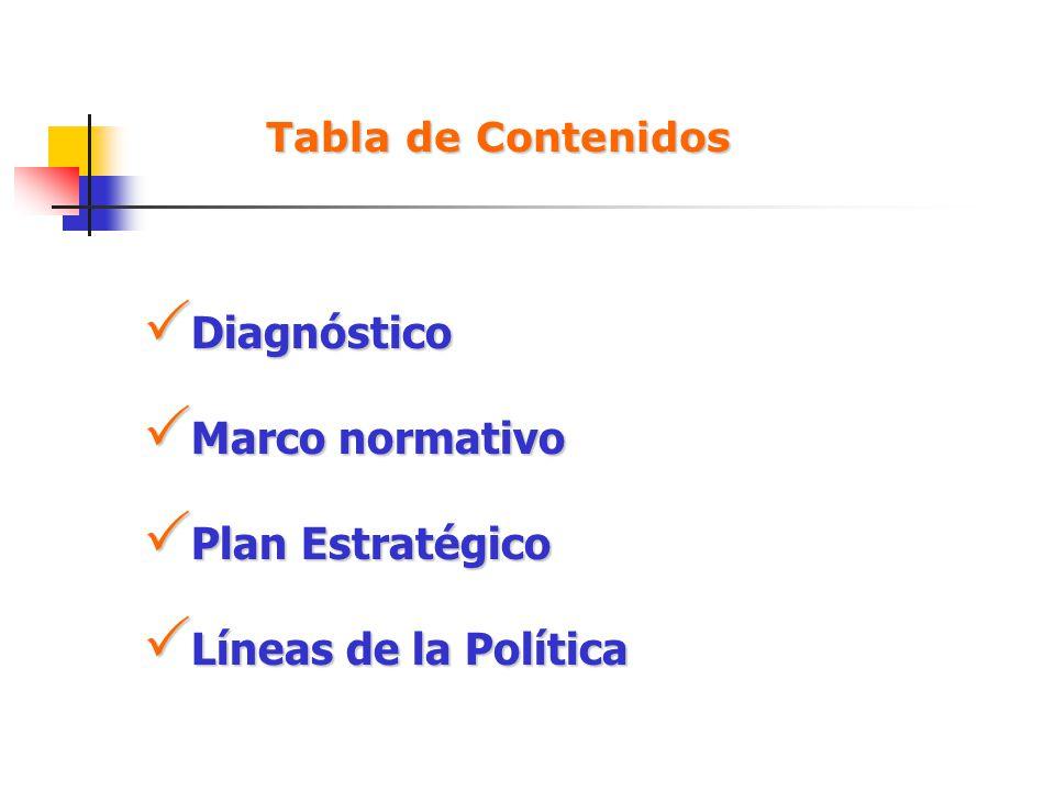 Tabla de Contenidos Diagnóstico Diagnóstico Marco normativo Marco normativo Plan Estratégico Plan Estratégico Líneas de la Política Líneas de la Polít