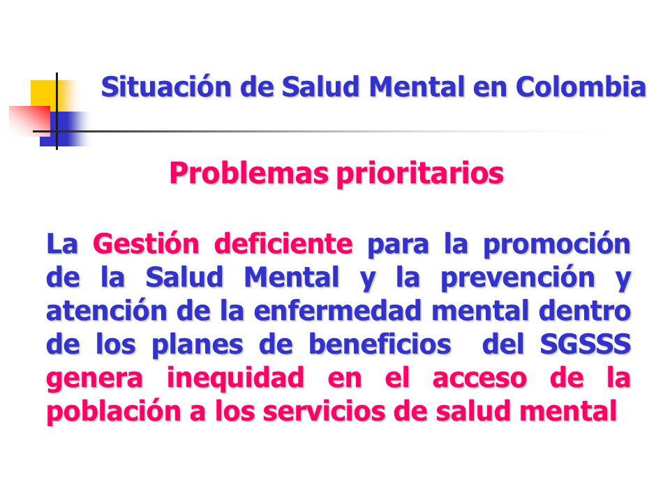 Situación de Salud Mental en Colombia La Gestión deficiente para la promoción de la Salud Mental y la prevención y atención de la enfermedad mental de