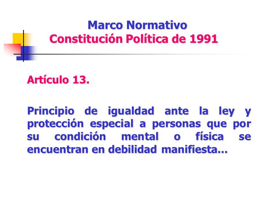 Marco Normativo Constitución Política de 1991 Artículo 13. Principio de igualdad ante la ley y protección especial a personas que por su condición men