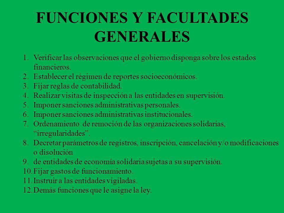 FUNCIONES Y FACULTADES GENERALES 1.Verificar las observaciones que el gobierno disponga sobre los estados financieros. 2.Establecer el régimen de repo