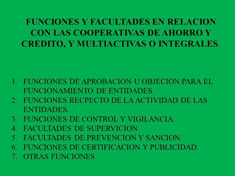 FUNCIONES Y FACULTADES EN RELACION CON LAS COOPERATIVAS DE AHORRO Y CREDITO, Y MULTIACTIVAS O INTEGRALES. 1.FUNCIONES DE APROBACION U OBJECION PARA EL