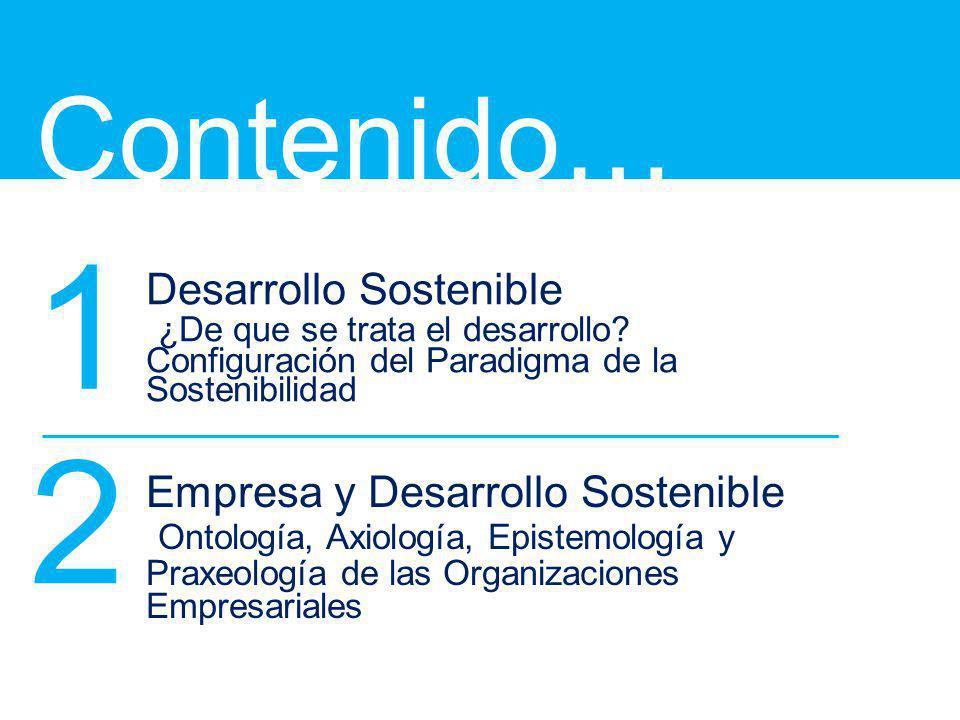 Contenido… Desarrollo Sostenible ¿De que se trata el desarrollo? Configuración del Paradigma de la Sostenibilidad Empresa y Desarrollo Sostenible Onto