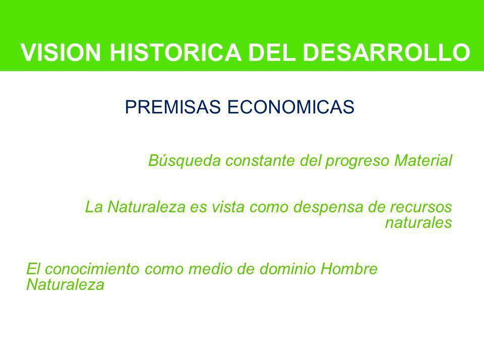 VISION HISTORICA DEL DESARROLLO Búsqueda constante del progreso Material La Naturaleza es vista como despensa de recursos naturales El conocimiento co