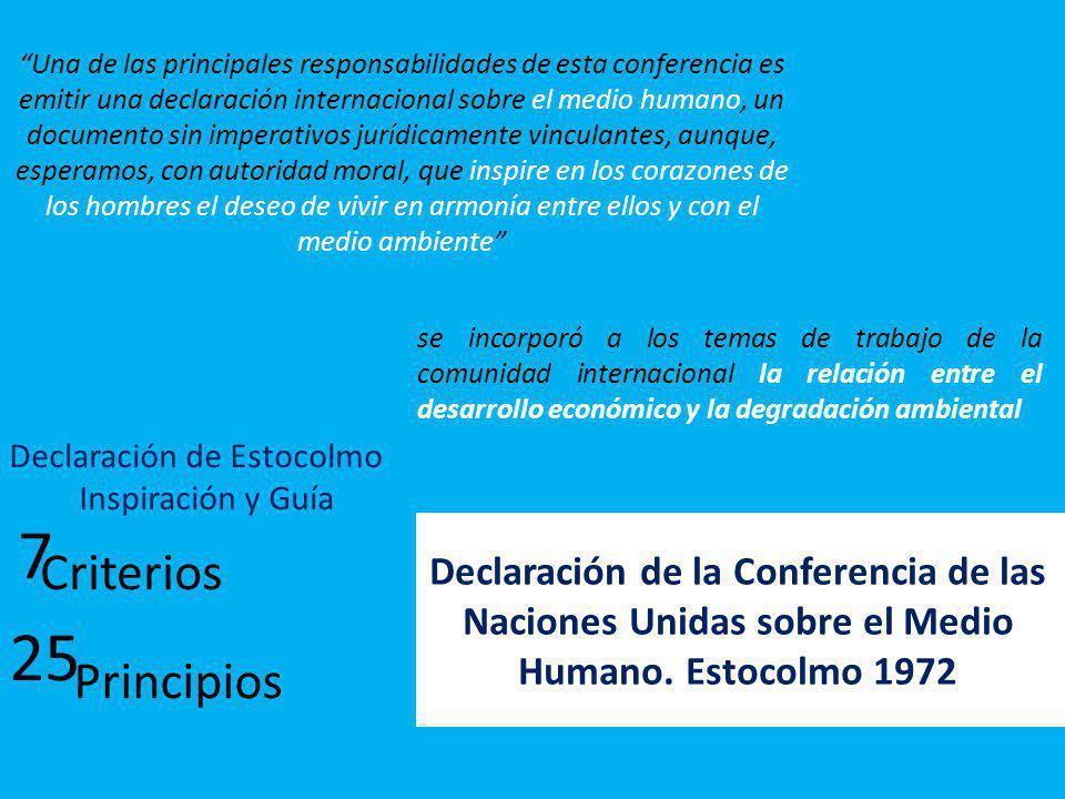 Declaración de la Conferencia de las Naciones Unidas sobre el Medio Humano. Estocolmo 1972 Una de las principales responsabilidades de esta conferenci