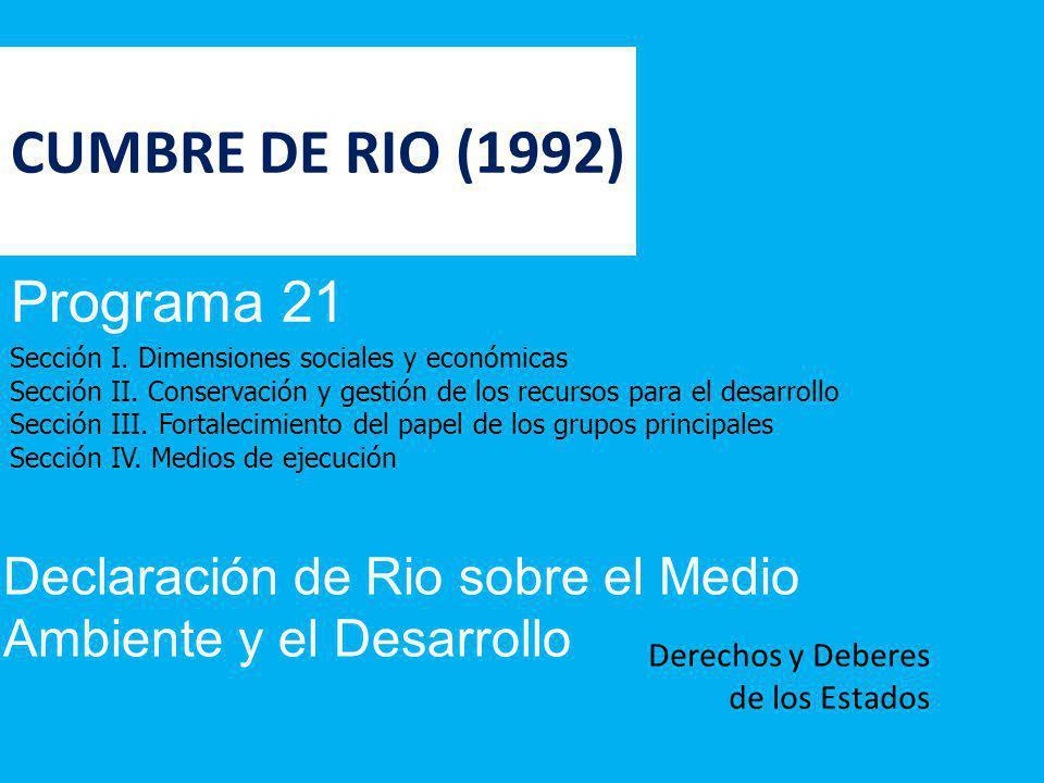 CUMBRE DE RIO (1992) Programa 21 Sección I. Dimensiones sociales y económicas Sección II. Conservación y gestión de los recursos para el desarrollo Se