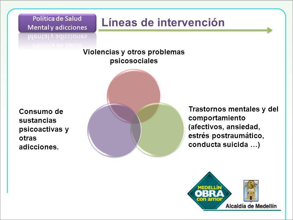 Líneas de intervención Violencias y otros problemas psicosociales Consumo de sustancias psicoactivas y otras adicciones. Trastornos mentales y del com