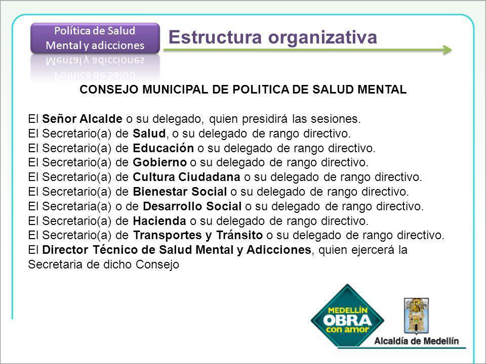 CONSEJO MUNICIPAL DE POLITICA DE SALUD MENTAL El Señor Alcalde o su delegado, quien presidirá las sesiones. El Secretario(a) de Salud, o su delegado d