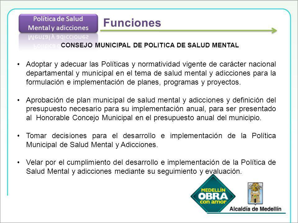 CONSEJO MUNICIPAL DE POLITICA DE SALUD MENTAL Adoptar y adecuar las Políticas y normatividad vigente de carácter nacional departamental y municipal en