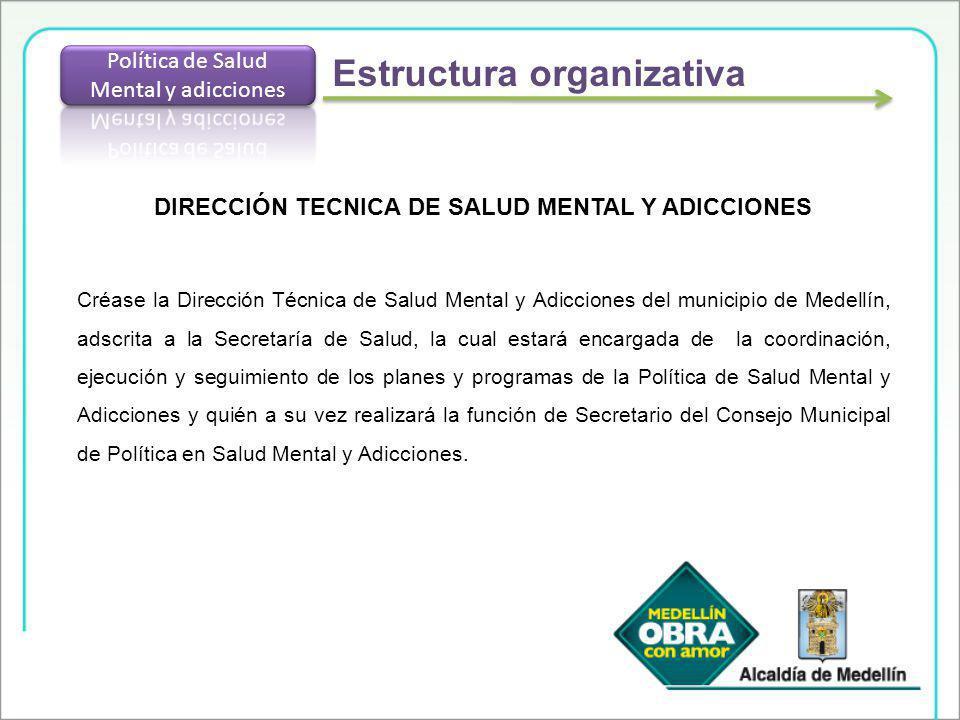 DIRECCIÓN TECNICA DE SALUD MENTAL Y ADICCIONES Créase la Dirección Técnica de Salud Mental y Adicciones del municipio de Medellín, adscrita a la Secre