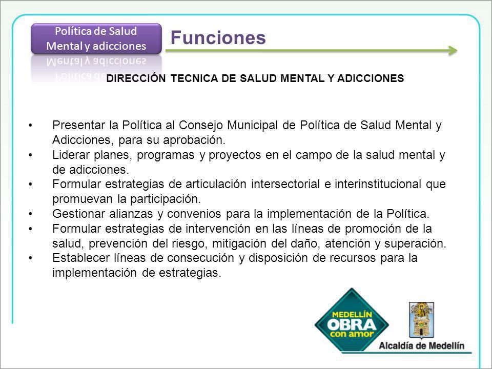 DIRECCIÓN TECNICA DE SALUD MENTAL Y ADICCIONES Presentar la Política al Consejo Municipal de Política de Salud Mental y Adicciones, para su aprobación