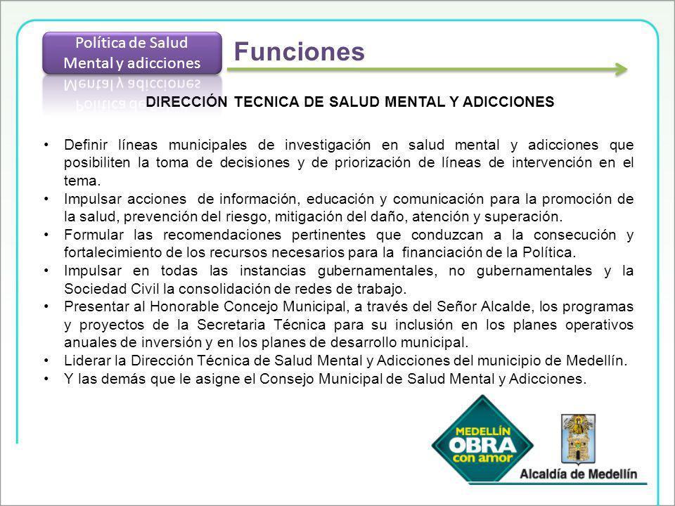 DIRECCIÓN TECNICA DE SALUD MENTAL Y ADICCIONES Definir líneas municipales de investigación en salud mental y adicciones que posibiliten la toma de dec