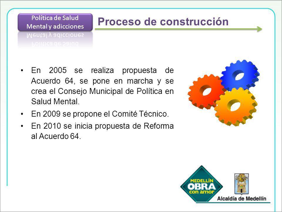 En 2005 se realiza propuesta de Acuerdo 64, se pone en marcha y se crea el Consejo Municipal de Política en Salud Mental. En 2009 se propone el Comité