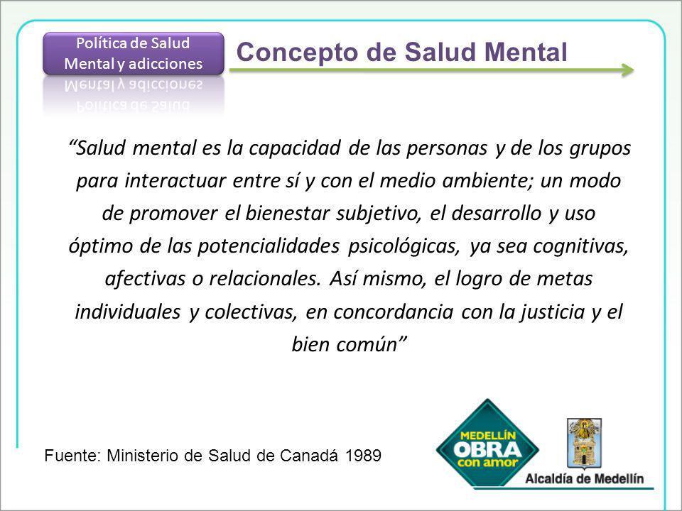 Salud mental es la capacidad de las personas y de los grupos para interactuar entre sí y con el medio ambiente; un modo de promover el bienestar subje