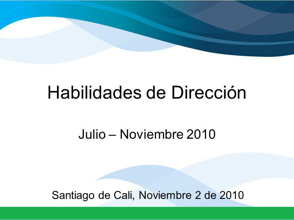 Habilidades de Dirección Julio – Noviembre 2010 Santiago de Cali, Noviembre 2 de 2010