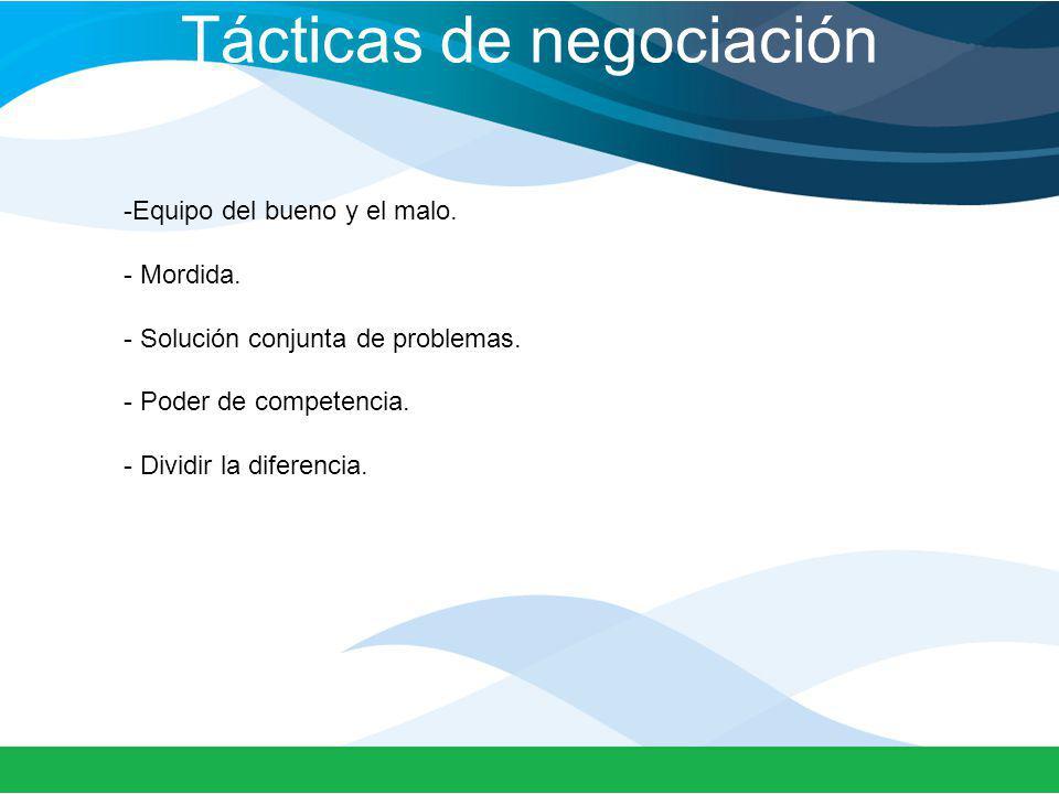 Tácticas de negociación -Equipo del bueno y el malo. - Mordida. - Solución conjunta de problemas. - Poder de competencia. - Dividir la diferencia.