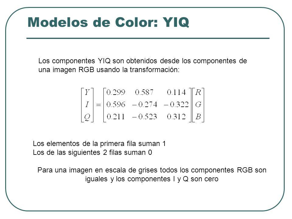 Modelos de Color: YIQ - YUV Estos sistemas surgieron para la difusión de la señal de televisión.