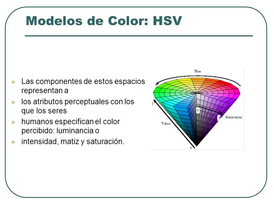 Modelos de Color: YIQ Los componentes YIQ son obtenidos desde los componentes de una imagen RGB usando la transformación: Los elementos de la primera fila suman 1 Los de las siguientes 2 filas suman 0 Para una imagen en escala de grises todos los componentes RGB son iguales y los componentes I y Q son cero