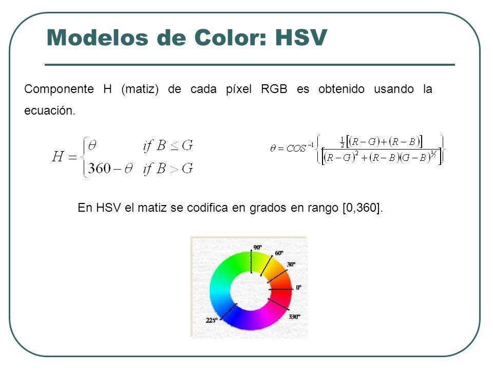 Modelos de Color: HSV Las componentes de estos espacios representan a los atributos perceptuales con los que los seres humanos especifican el color percibido: luminancia o intensidad, matiz y saturación.