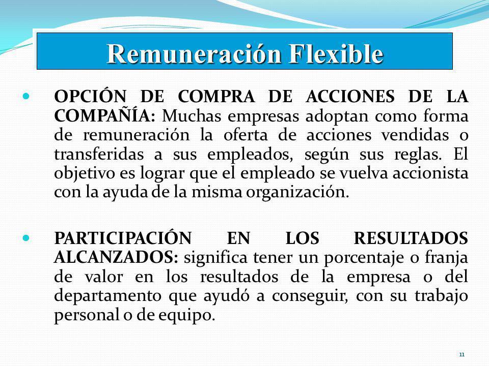 11 OPCIÓN DE COMPRA DE ACCIONES DE LA COMPAÑÍA: Muchas empresas adoptan como forma de remuneración la oferta de acciones vendidas o transferidas a sus empleados, según sus reglas.