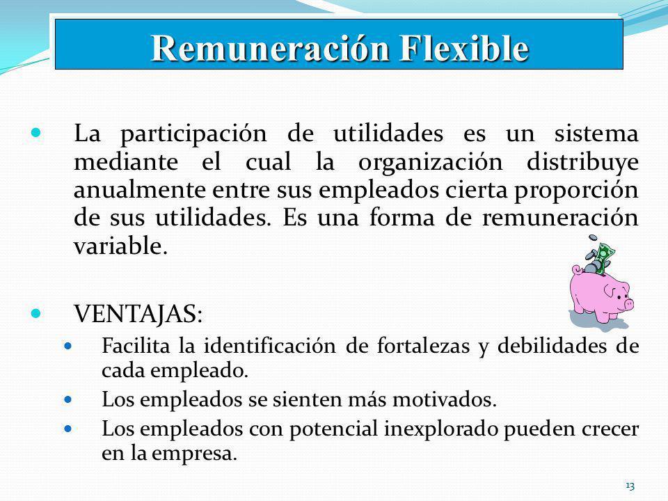 13 La participación de utilidades es un sistema mediante el cual la organización distribuye anualmente entre sus empleados cierta proporción de sus utilidades.