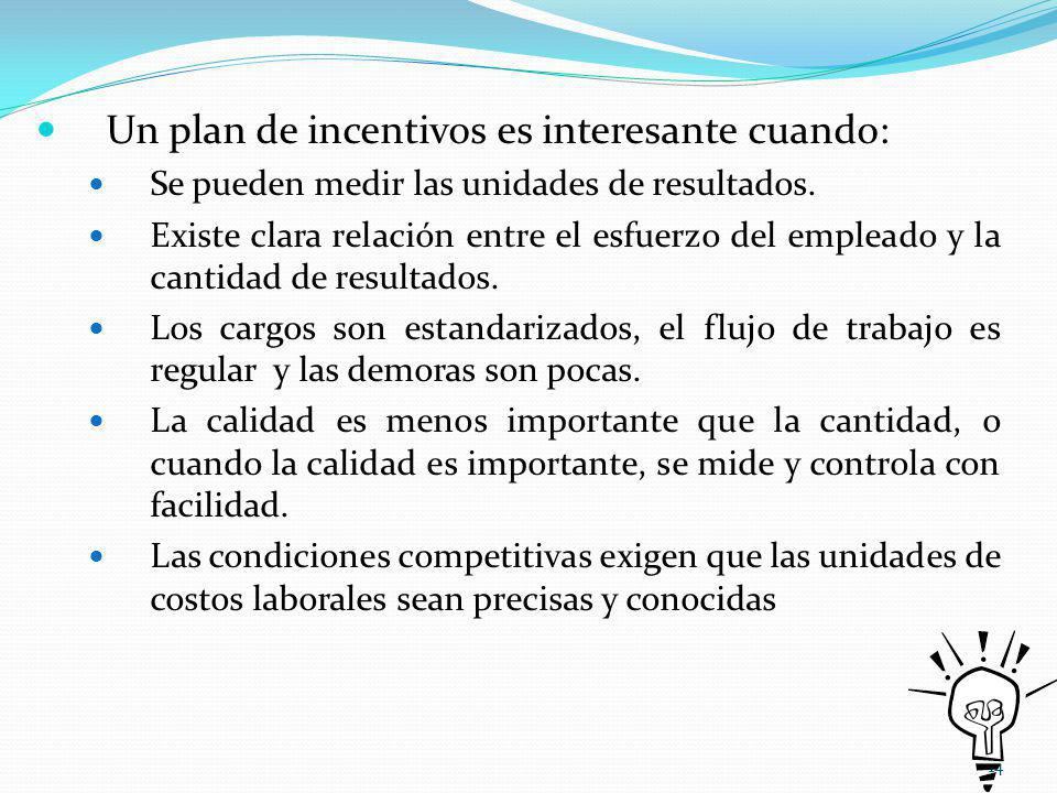 14 Un plan de incentivos es interesante cuando: Se pueden medir las unidades de resultados.