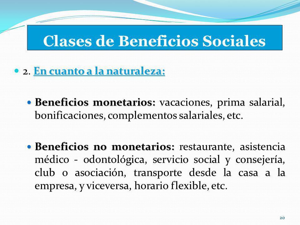 20 Clases de Beneficios Sociales En cuanto a la naturaleza: 2.