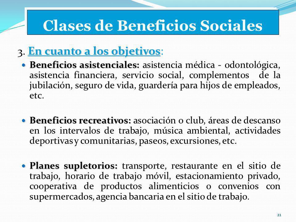 21 Clases de Beneficios Sociales En cuanto a los objetivos 3.